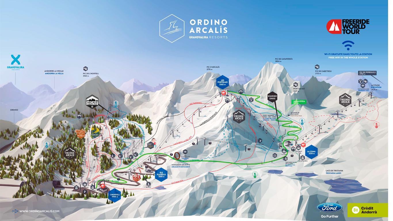 Map Ski stacion Ordino Arcalis